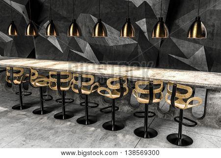 The interior of the bar counter, stools and golden lights on the background of polygonal concrete. 3D rendering.