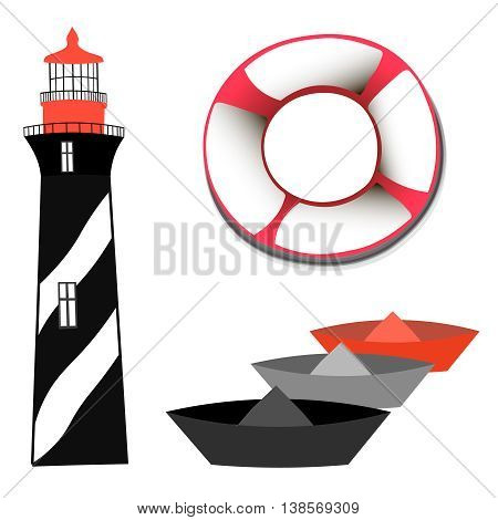 set with lighthouse and boats, vector image