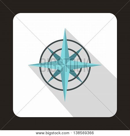 Ancient compass icon in flat style on a white background