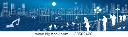 City life amazing panorama. Urban skyline, people watching from the bridge to the night town, infrastructure illustration, vector design art