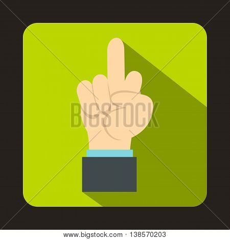 Middle finger hand sign icon in flat style on a green background