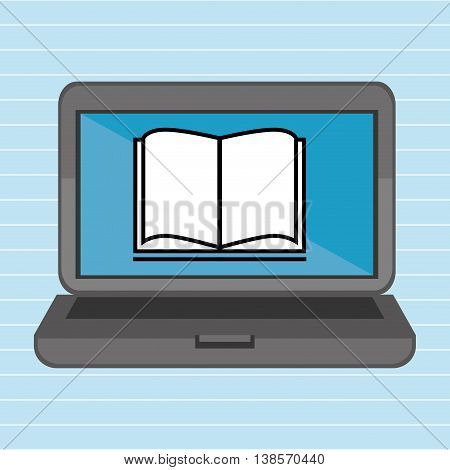 laptop with book blue isolated icon design, vector illustration  graphic