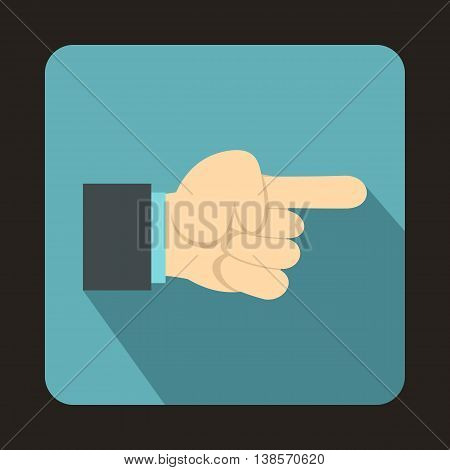 Pointing hand gesture icon in flat style on a baby blue background