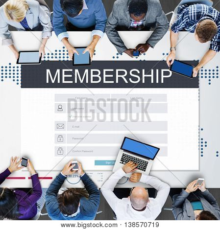 Membership Registration Follow Concept
