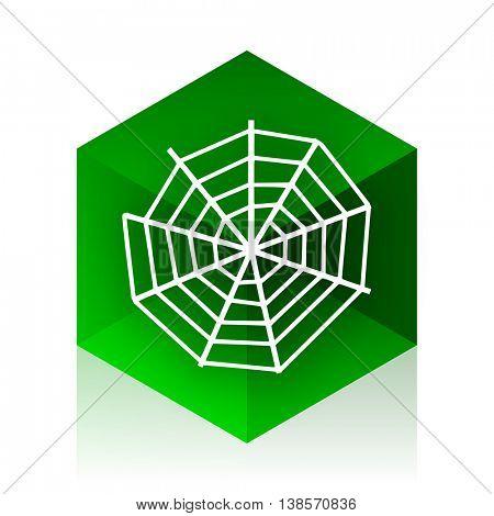 spider web cube icon, green modern design web element