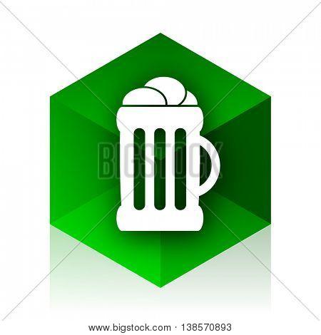 beer cube icon, green modern design web element