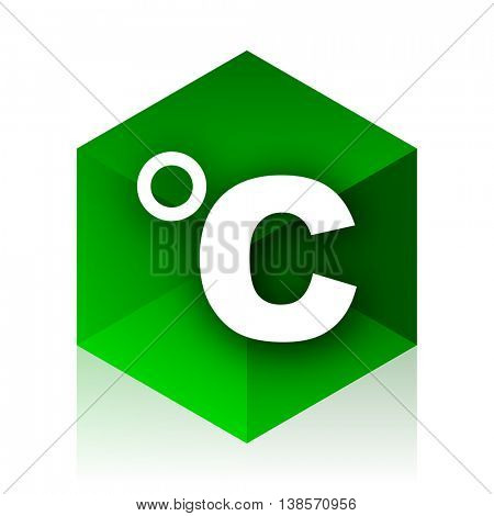 celsius cube icon, green modern design web element
