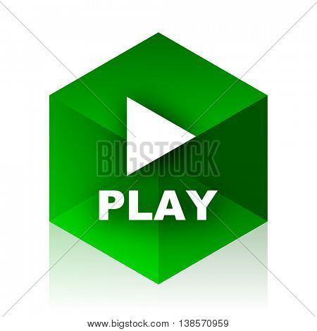 play cube icon, green modern design web element