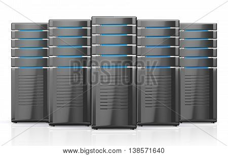 3D Illustration Of Network Workstation Servers.