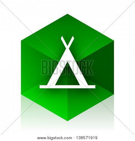 camp cube icon, green modern design web element