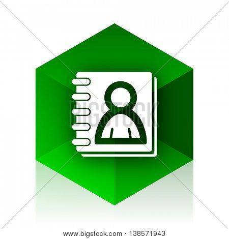 address book cube icon, green modern design web element