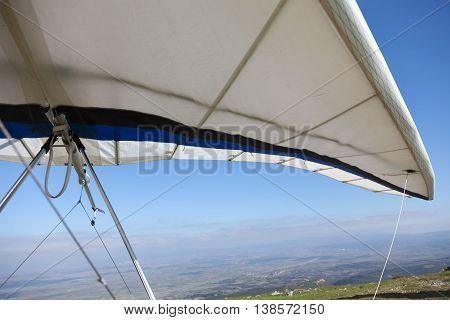 Hang gliders waiting to fly. Sport concept