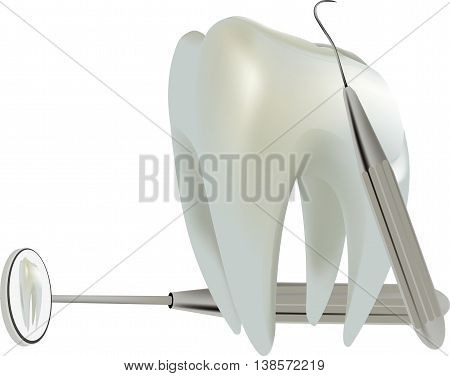 molar tooth with dental accessories symbol molar tooth