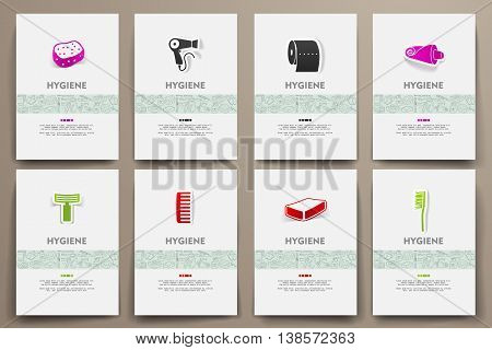 Corporate identity vector templates set with doodles hygiene theme. Target marketing concept