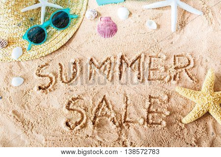 Summer Sale Text In The Sand