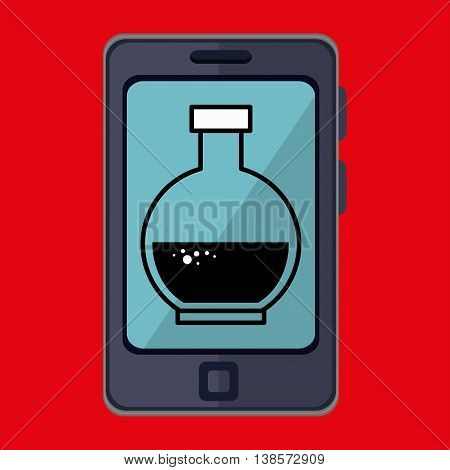 smartphone and tube lab isolated icon design, vector illustration  graphic