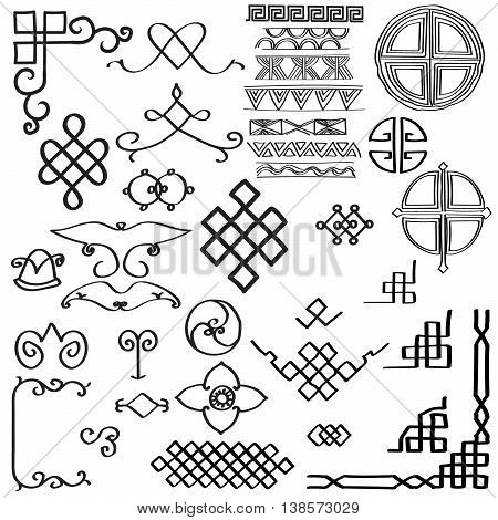 The set of elements of the Central Asian ethnic ornaments.