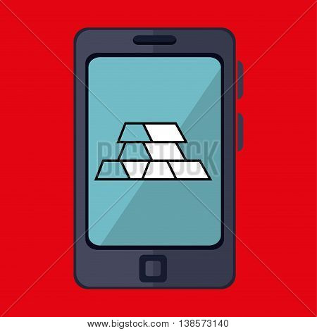 smartphone and bars gold isolated icon design, vector illustration  graphic