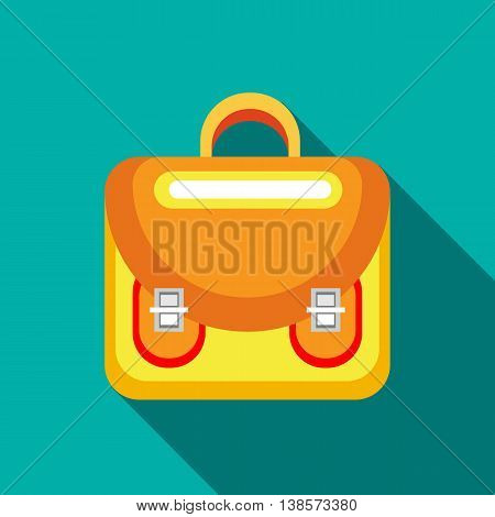 Yellow backpack icon in flat style on a turquoise background