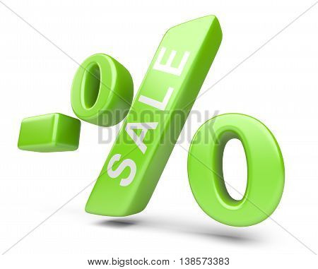 Discount green percent isolated on a withe background. High resolution 3d image.