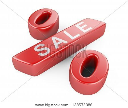 Discount red percent on a withe background. High resolution 3d image.