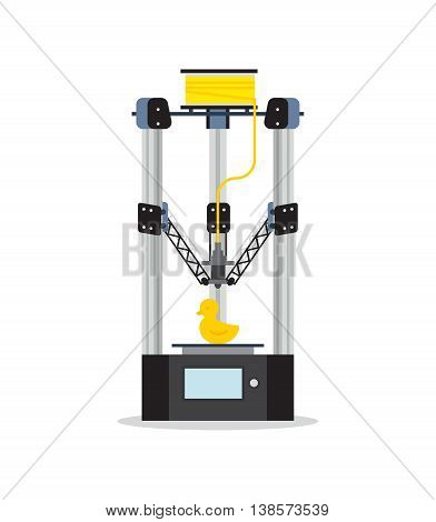 3d Printing Machine printing a toy. Flat vector isolated icon.