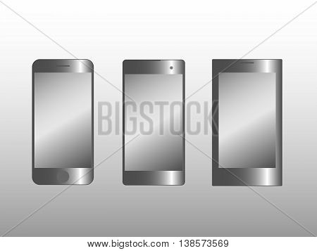 Vector illustration of three smart phone models isolated on grey background.