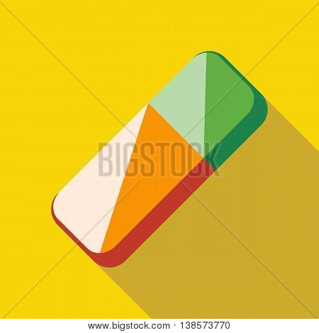 Colorful rubber pencil eraser icon in flat style on a yellow background