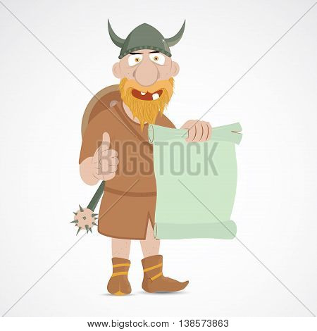 Viking with thump up showing empty open parchment