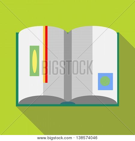 Open book with red bookmark icon in flat style on a green background