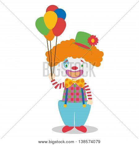 Cute cartoon vector illustration of a clown