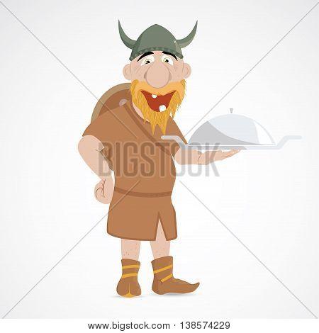 Funny cartoon viking holding silver serving dish