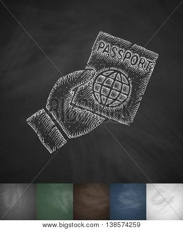 passport icon. Hand drawn vector illustration. Chalkboard Design