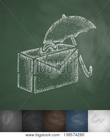 suitcase and an umbrella icon. Hand drawn vector illustration. Chalkboard Design
