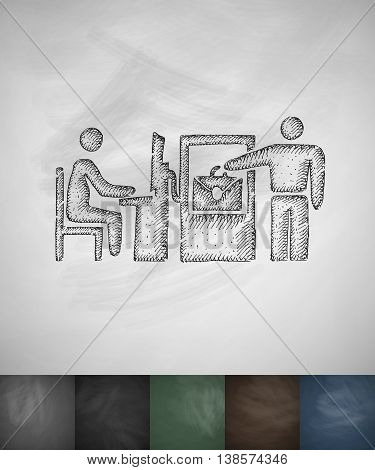 checked baggage icon. Hand drawn vector illustration. Chalkboard Design