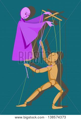 puppet on a stick and a puppet control each other illustration