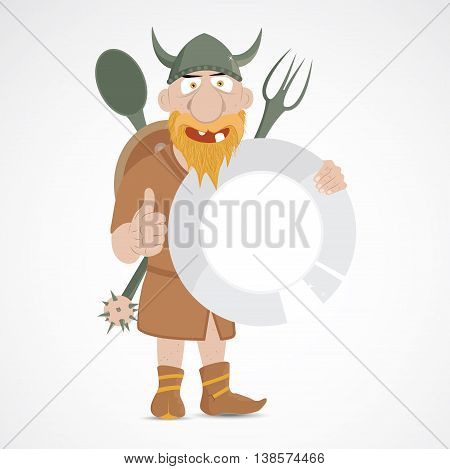 Funny cartoon viking wtih thump up holding big plate