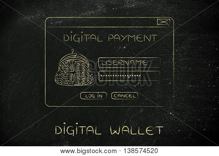 Digital Payment Login Pop-up With Electronic Circuit Coin Purse