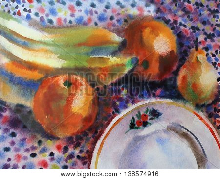 Watercolor still life with fruit and a plate