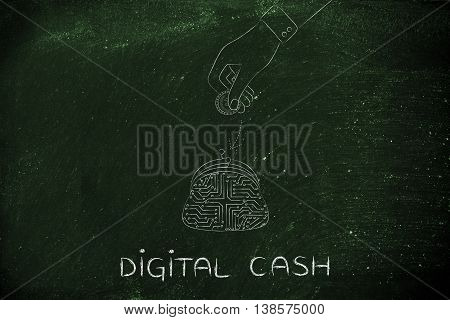 Electronic Circuit Coin Purse And Hand Dropping Money Inside