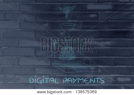Laptop With Electronic Wallet And Funnel To Drop Coins Into It