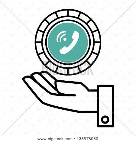 hand and telephone isolated icon design, vector illustration  graphic