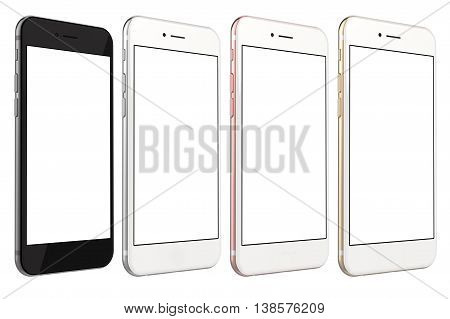 Set of four smartphones gold, rose, silver and black with blank screen, isolated on white background. Real camera, high resolution, 3d rendering.