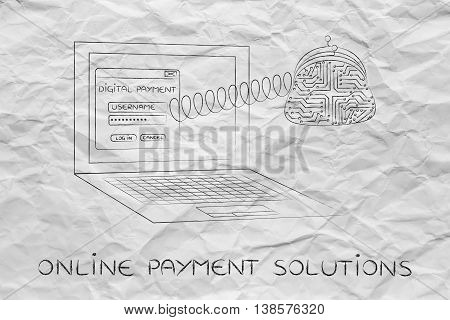 Digital Payment Laptop With Electronic Coin Purse On A Spring