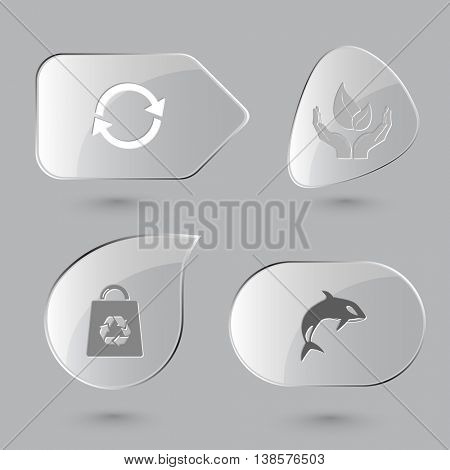 4 images: recycle symbol, life in hands, bag, killer whale. Nature set. Glass buttons on gray background. Vector icons.