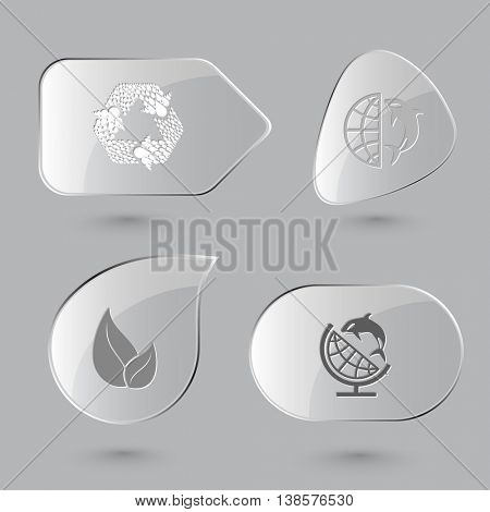 4 images: recycle symbol, globe and shamoo, leaf. Ecology set. Glass buttons on gray background. Vector icons.