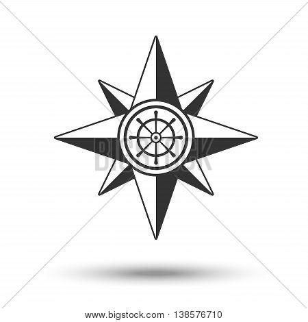 Wind rose compass icon in dark grey color with steering control isolated on white background