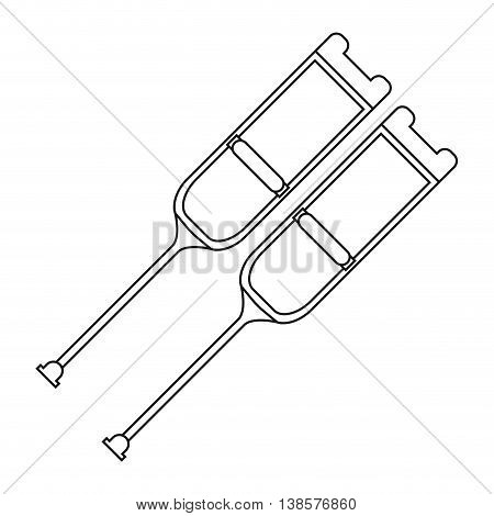 flat design pair of crutches icon vector illustration