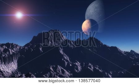 Exoplanet Exploration - Fantasy and Surreal Landscape. 3D Rendered.