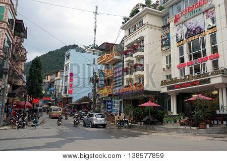 SAPA, VIETNAM, February 12, 2016 the old town, the town of Sapa, Vietnam highland